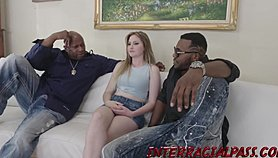Flawless teen Sable Jones takes on 2 BBC's in her first 3some!