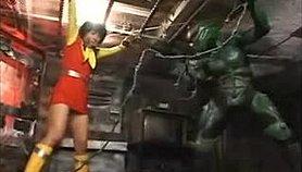 Sexy heroine is tied up and tortured by her alien captor in