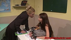 Lezdom teacher dildoes restrained schoolgirl