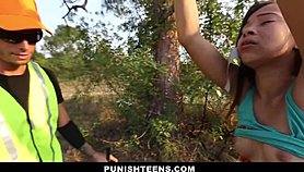 PunishTeens - Ebony Teen Tied, Punished And Fucked In The Forest Free Porn
