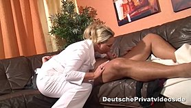 Blonde doctor treats lucky guy