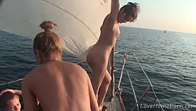 Hot babes know how to party while sailing