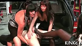 Sexy female domination with hard ball crushing and footjob