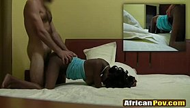African hottie on all fours fucked by a white foreigner
