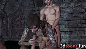 3D Sex Vampire Tattooed Slut Has Threesome Underground